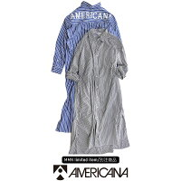 【2019AW】【送料無料】AMERICANA×MMN【別注アイテム】アメリカーナバックロゴストライプシャツワンピースASO-318GB【RCP】