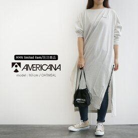 【2019AW】AMERICANA×MMN【別注アイテム】アメリカーナ 両サイドジップ カットソーワンピース ASO-367 GB【RCP】