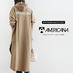 【2019AW】AMERICANA×MMN【別注アイテム】アメリカーナ サイドジップ裏毛フード付きスウェットワンピース ASO-370 GB【RCP】