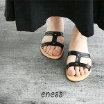 【2020SS】enessエネスレザーフラットサンダル98610【RCP】