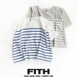 m【2019SS】【Kids】FITHフィスコットンリネンボーダー5分袖Tシャツ292427【RCP】