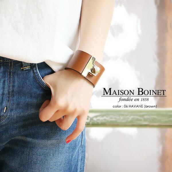 \1月24日10時〜さらにプライスダウン/d【50%★OFF】MAISON BOINET メゾンボワネ ワイドレザーバングル 95027G【RCP】