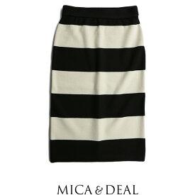 【60%★OFF】MICA&DEAL マイカアンドディール ボーダータイトスカート M16D169【RCP】