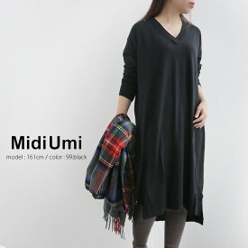 【40%★OFF】MidiUmi ミディウミ ウールVネックワンピース 4-757912 【RCP】