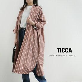 【2020SS】TICCA ティッカ スクエアビッグロングシャツ TBKS-015/TBKS-033【RCP】ストライプ