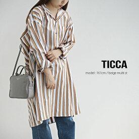 【SALE対象外】TICCA×MMN【カラー別注】 ティッカ ノーカラースクエアビッグロングシャツプルオーバー TBKA-158/TBKA-183【RCP】SS