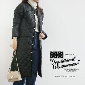 【SALE対象外】Traditional Weatherwear トラディショナルウェザーウェア キルティングノーカラーロングジャケット ARKLEY L182APQCO0098A【RCP】