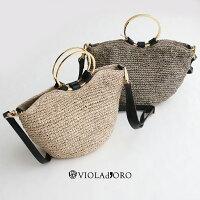 【2020SS】VIOLAd'OROヴィオラドーロリングハンドルラフィアバッグV-8303【RCP】カゴバッグ