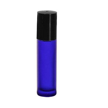 【ネコポス182円】フロストコバルトガラスボトル・ロールオン[10ml]/10個【ブルー 青色 詰め替え容器 アトマイザー 手作りコスメ 手作り化粧品 ブルー】