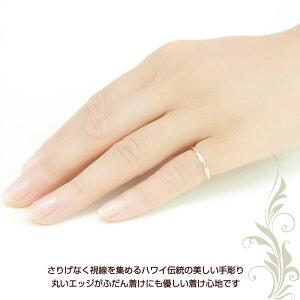 ハワイアンジュエリーリングピンクゴールドハワイアンゴールドリングスクロール指輪ピンキーリングマリッジリング結婚指輪レディースメンズプレゼント名入れ刻印無料送料無料クリスマスギフト