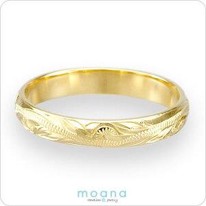 ハワイアンジュエリーリングイエローゴールドハワイアンゴールドリングスクロール指輪ピンキーリングマリッジリング結婚指輪レディースメンズプレゼント名入れ刻印無料送料無料クリスマスギフト