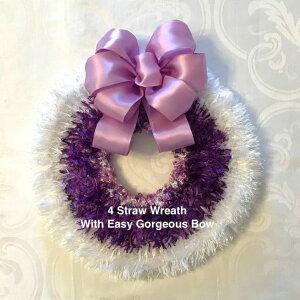 【リボンレイ キット】Ribbon Lei Lesson64 Straw Wreath with Easy Gorgeous Bow4 ストロー リース ウィズ イージー ゴージャスボウ