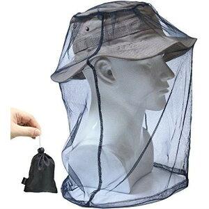 蚊よけ 虫よけ ヘッド ネット 防虫ネット メッシュ カバー モスキート ガード インセクト シールド 携帯 頭部 蚊帳 フェイスガード 収納ポーチ付き BLACK