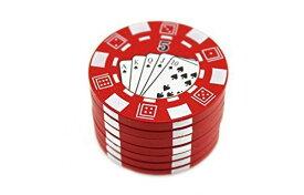 navire ミニ 金属 ポーカーパターン カジノチップ状 金属ハーブ 手巻き タバコ グラインダー カラー ランダム