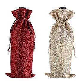 バーラップワインバッグ、巾着、防塵、再利用可能なリキュールボトルサック、2個(赤、原色)