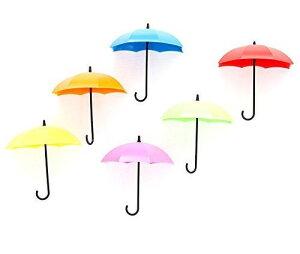 (moin moin) フック 小さな傘 鍵掛け 壁掛け カラフル 小物入れ 収納 壁 壁面収納 (6色セット)