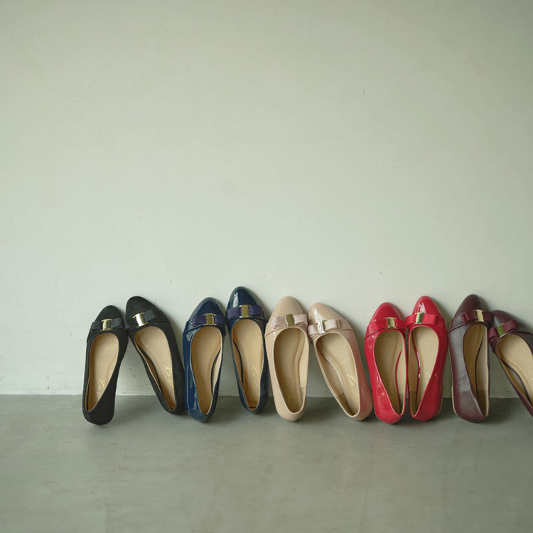 リボンデザインラウンドフラットパンプス レディース 靴 シューズ パンプス フラットパンプス リボン バレエシューズ [I1733]【入荷済】