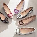 スクエアモチーフポインテッドパンプス [I2039]【入荷済】 レディース シューズ 靴 パンプス フラット 通勤 大人 上品…