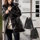 軽量ダブルカラー中綿ロングコート [K514]【入荷済】 レディース 軽い 冬 暖か ウエストリボン 【送料無料】