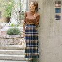 起毛チェック柄ロングスカート [M2683]【入荷済】 レディース スカート ロングスカート チェック柄 送料無料