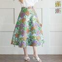 ジャガードスカート [M3340] レディース ボトムス ミディアム 膝下 大人 フレア 花柄 サイドジップ デイリー