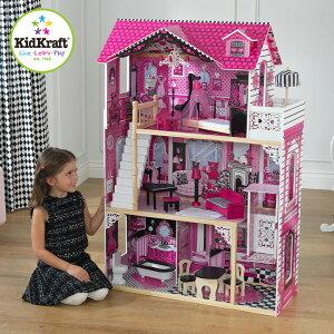 [CEマーク認定/家具のおもちゃ14点付き] KidKraft アメリアドールハウス ミニチュアハウス ドールハウス 高さ120cm 人形遊び 家具付き 三階建て ドールハウスセット 木製 こども 子ども おもちゃ