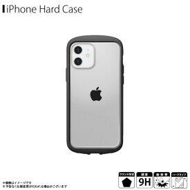 iPhone 12 iPhone 12 Pro ケース ハードケース PG-20GGT01BK 【2224】ガラスタフケース ラウンドタイプ 背面ガラス 耐衝撃 米国軍用規格 飛散防止 ストラップホール付 背面クリア フレーム ブラックPGA