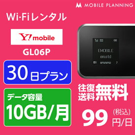 WiFi レンタル 30日 2,980円 往復送料無料 1ヶ月 Y!mobile LTE GL06P(10GB/月) インターネット ポケットwifi 即日発送 レンタルwifi