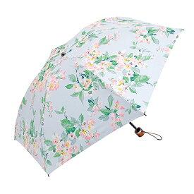【メール便】ローラ アシュレイ フラワープリント柄 折りたたみ傘 ブルー色  998z-571225