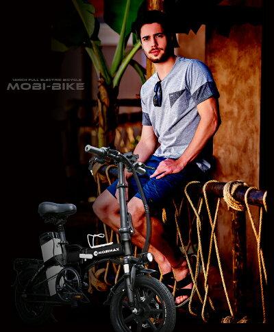 フル電動自転車14インチ折りたたみ大容量48V8Ahリチウムバッテリーブレーキランプ付フル電動アクセル付き電動自転車モペットタイプmopedサスペンション折畳電動自転車【公道走行不可[MOBI-BIKE]