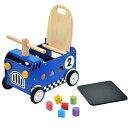 【木のおもちゃ 車】 【出産祝い 手押し車 乗用玩具 知育玩具】アイムトイ ウォーカー&ライド レースカー ブルー 誕…