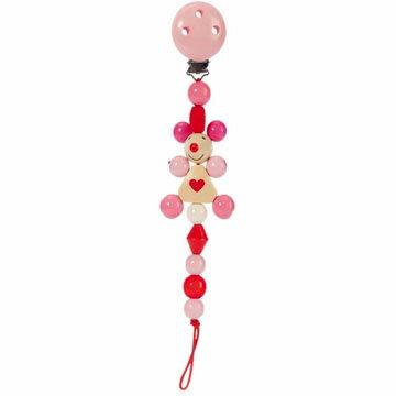【木のおもちゃ】HEIMESS ハイメス おしゃぶりホルダー チェーンクリップ ハートねずみ(ピンク)【P】