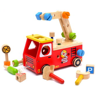 Wooden toys-fit I'm TOY IMTI educational toys active fire truck 2 years: men