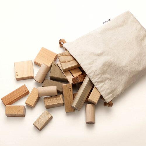 【積み木】 出産祝い 木のおもちゃ オークヴィレッジ 白木 無塗装 寄木の積木(袋入り) お誕生日 1歳 男 女【P】