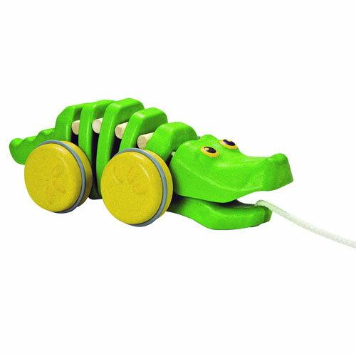 【木のおもちゃ 木の玩具】【木製玩具 知育玩具 出産祝い プルトイ ハーフバースデー】プラントイの木のおもちゃ Plantoys 引っ張るおもちゃ ダンシングアリゲーター2 お誕生日 1歳:女