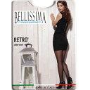 【柄ストッキング】 BELLISSIMA RETRO バックシーム柄ストッキング 黒 ブルー イタリア インポート 柄ストッキング/ブ…