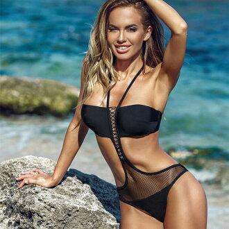 意大利进口游泳衣JOLIDON CLANDESTINE F2547网丝转换monokini游泳衣(游泳衣连衣裙)黑