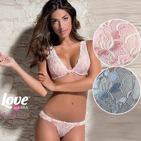 イタリアインポートランジェリー LOVE&BRA 18098 レースブラレット・ショーツセット 2色【あす楽対応】【コンビニ受取対応商品】