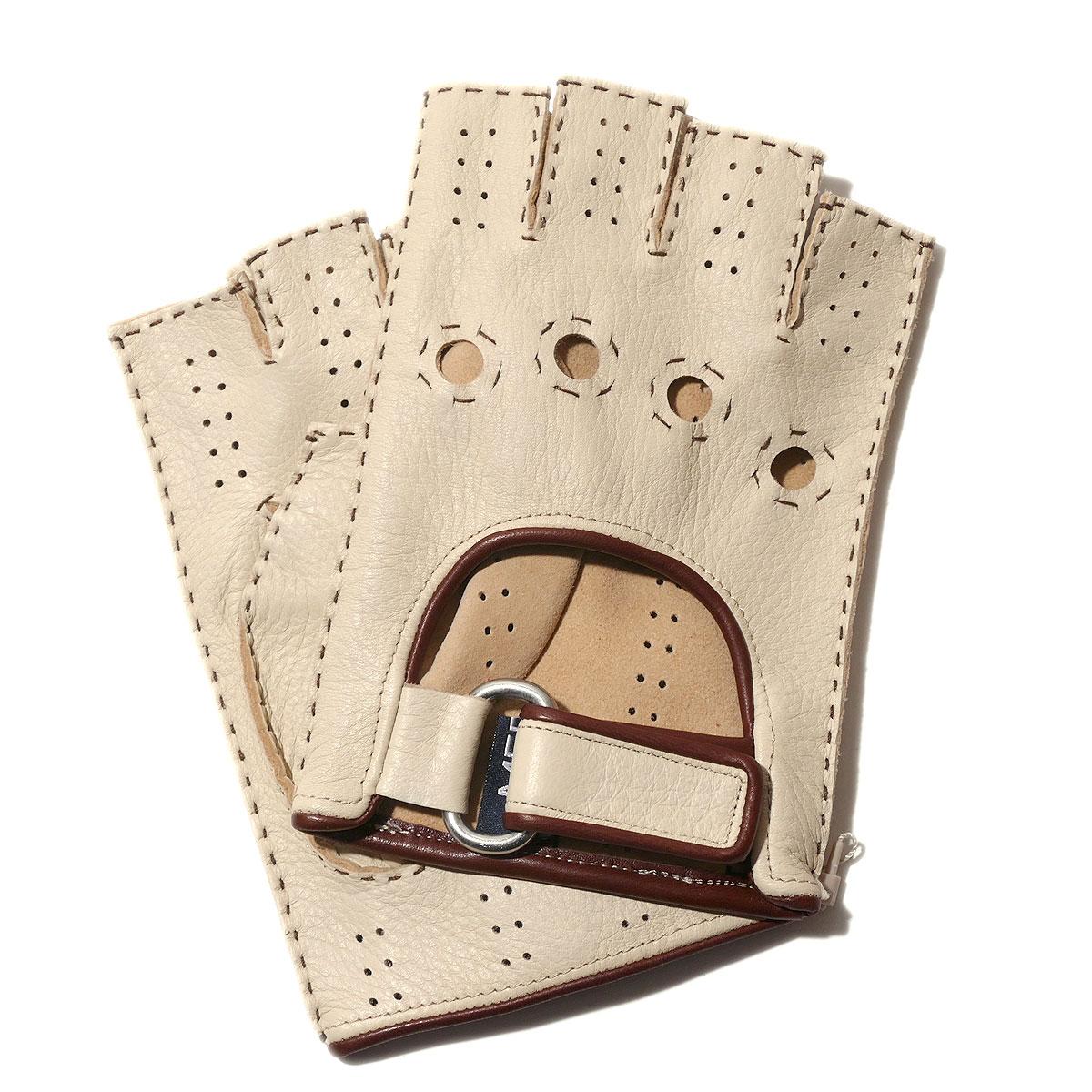 メローラ カットオフ ドライビンググローブ ディアスキン(クリーム) 手袋指なし メンズ【イタリア製】MEROLA【手ぶくろ 男性用 プレゼント】