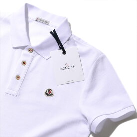 モンクレール2019SS 鹿の子 ポロシャツ (83408 001ホワイト) メンズ【トップス ポロシャツ 半袖 クールビズ おしゃれ メンズ 】MONCLER