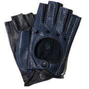 メローラカットオフドライビンググローブラムナッパ(ボルドー/ネイビー)【イタリア製】MEROLA手袋指なしメンズ【手ぶくろ男性用】