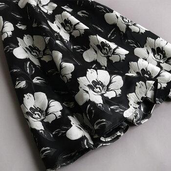 ボトムボトムスレディース花柄フラワースカートきれいめジャガード春秋冬フラワー柄フレア上品華やかロングミモレ大きいサイズ【新作】ジャガードフラワーがエレガントな花柄フレアスカート[NO.12-111-33](809)