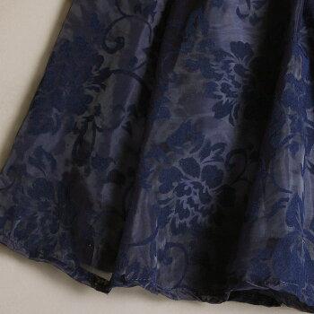 セットアップレディースフォーマルパーティードレス結婚式二次会ワンピースフレア花柄【新作】フリルが愛らしい長袖ニット×フラワー柄が美しいオーガンジースカートのセットアップワンピース[NO.12-82-604](619-2)