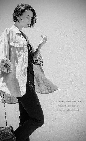 """リネンシャツブラウストップスレディース春夏チュニック麻パールきれいめビッグサイズオーバーサイズ大きいサイズ【新作】""""当店オリジナル""""大人の高級100%リネンシャツ[NO.12-101-55]"""
