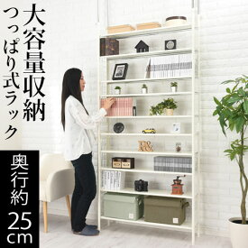 薄型 本棚 つっぱり オープンシェルフ スチール ホワイト LRAUW0600