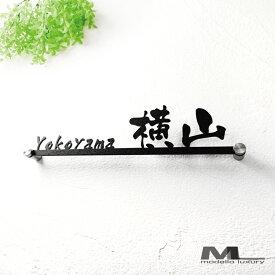 ステンレス表札【エレガントライン】 漢字とローマ字両方入ります 難しいお名前でも安心 アイアン調ステンレス表札