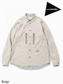 and wander アンドワンダー|tech long sleeve shirt #Beige テック ロングスリーブ シャツ (メンズ) #Beige