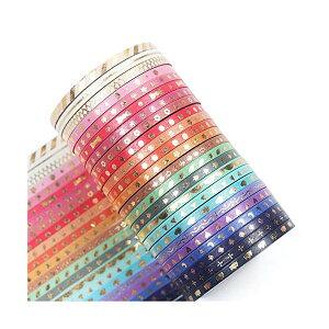 24巻セット マスキングテープ 大量 マステ ロール 細幅 3ミリ 3mm ほそい ラッピング デコレーション 箔押し デザイン