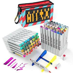 Arrtx OROS マーカーペン 80色 アルコールマーカー 筆タイプ 筆・太字 イラストマーカー ペンスタンド、織りバッグ付き