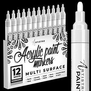 White Paint Markers ホワイト ペイントマーカー ロックペインティング 石 セラミック 陶器 タイヤ ガラス 木
